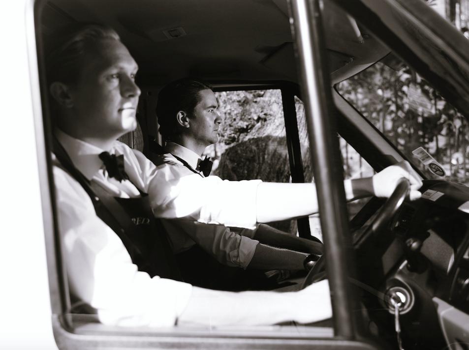 Men driving van