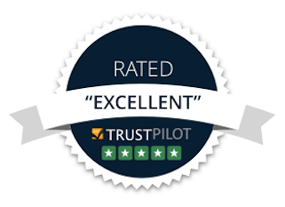 STORED's badge of excellence based on TrustPilot reviews. Illustration.