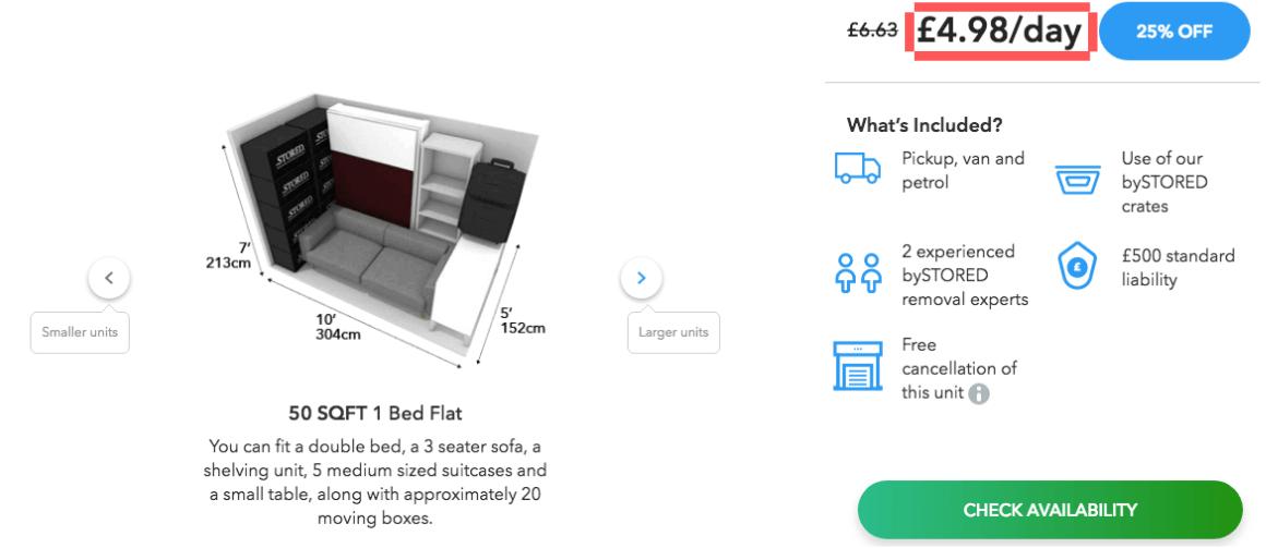 50 SQFT 6 Month Storage Cost