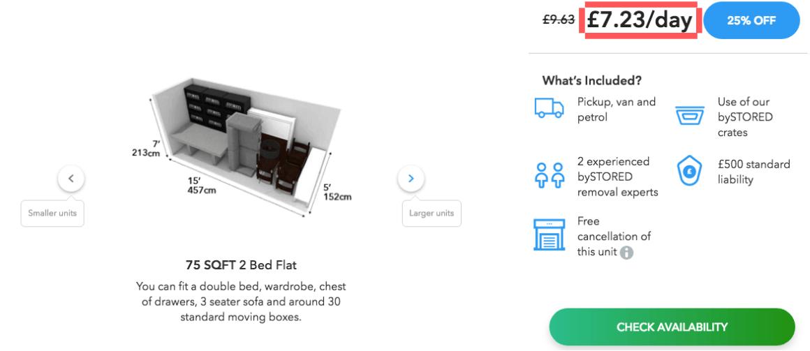75 SQFT 6 Month Storage Cost