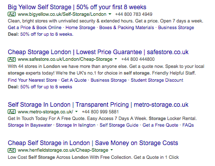 Cheap Storage London Ads