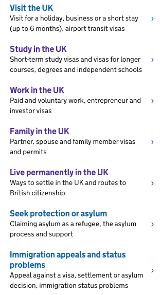 Visas and immigration in the UK.