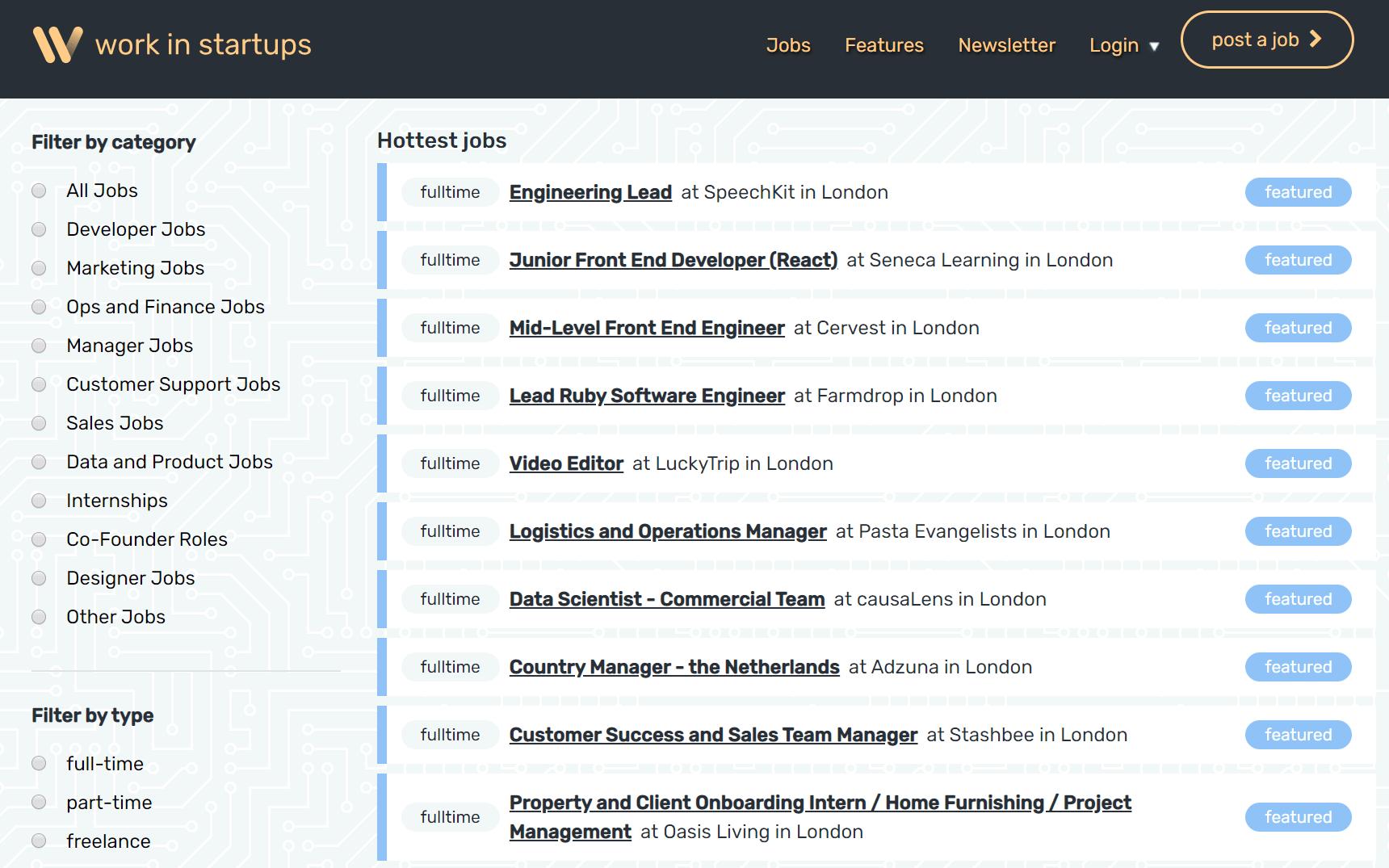 Work in Startups Job Listings.