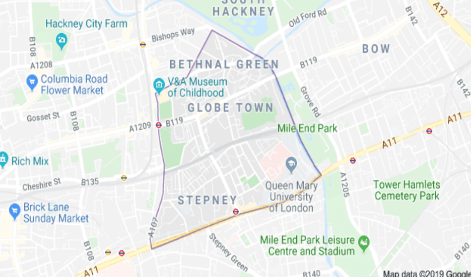 Bethnal Green on Google Maps.