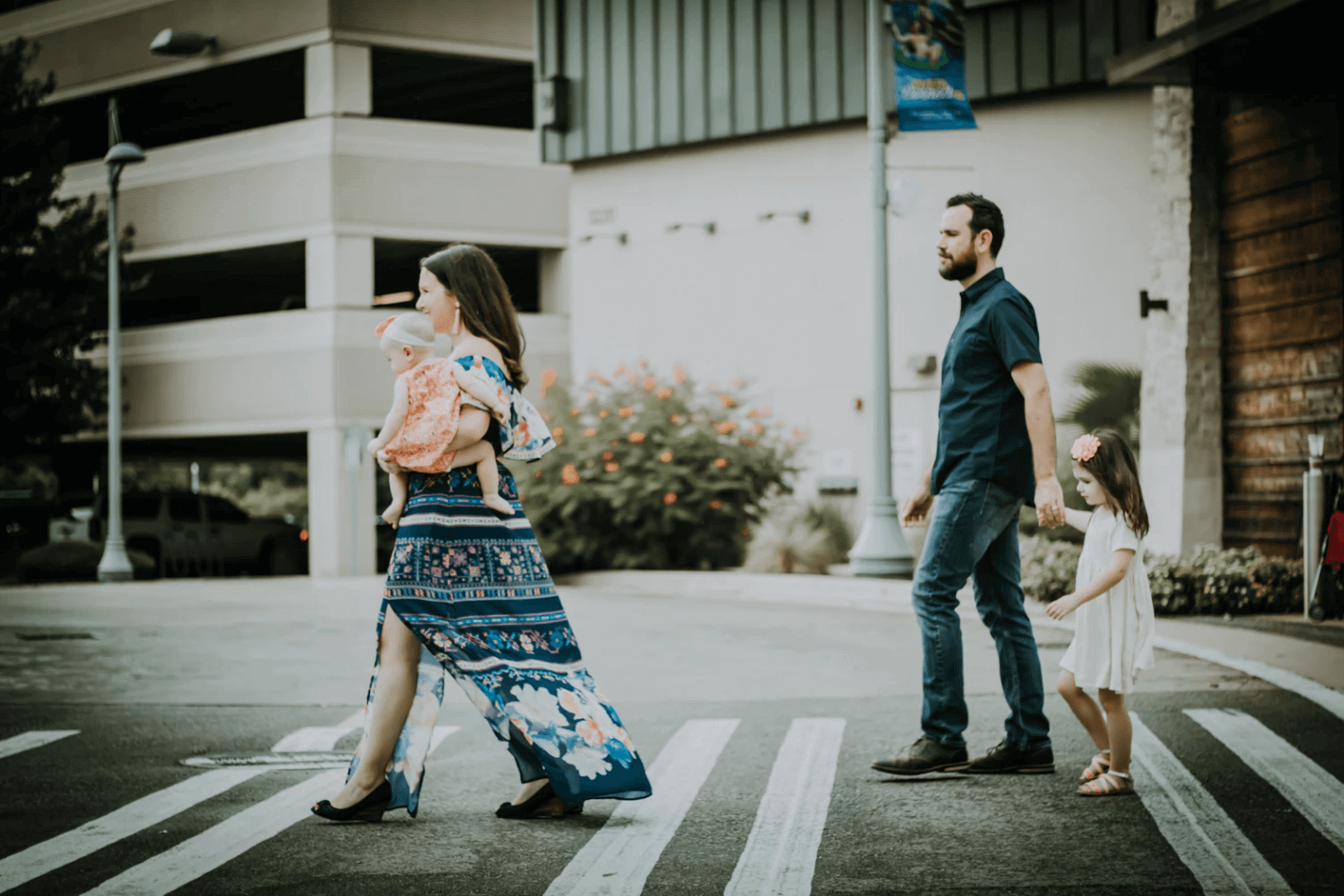 Family Crossing the Street.