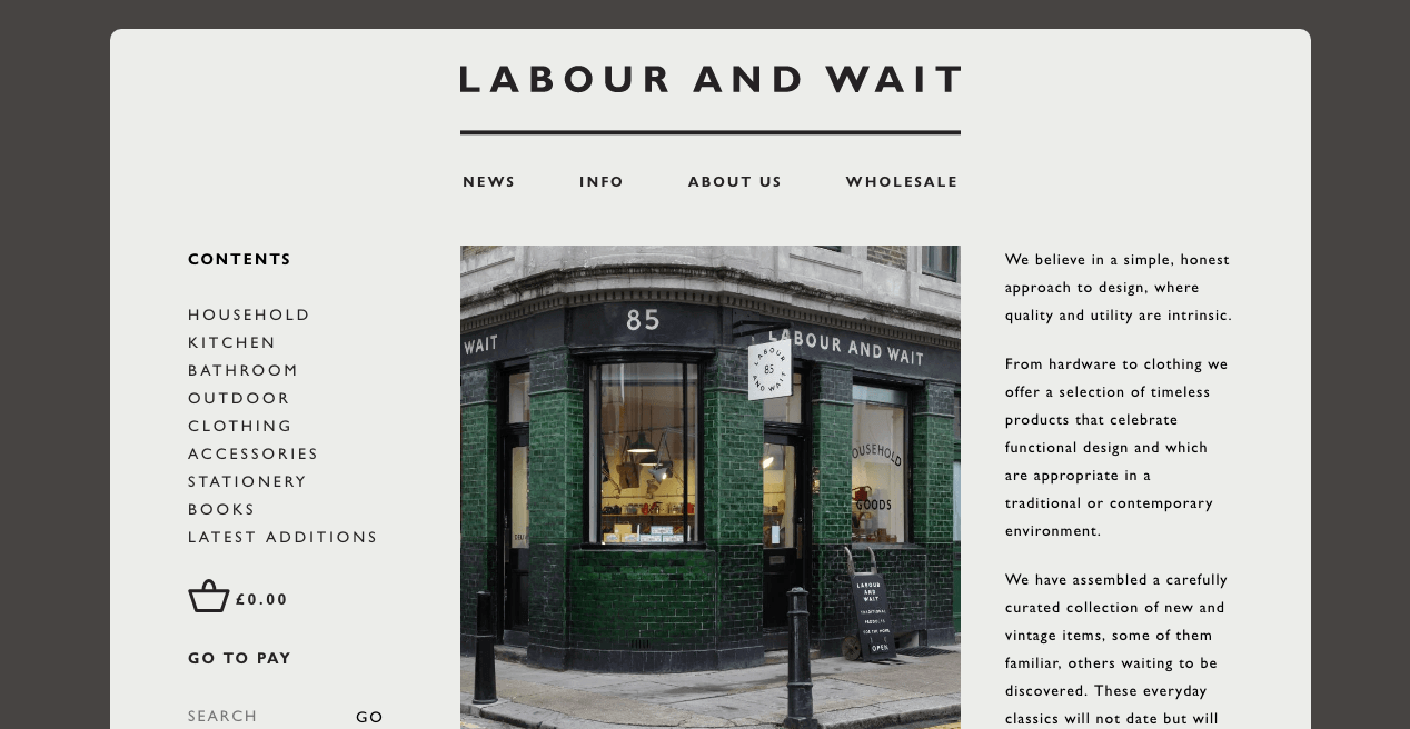 Labour and Wait Website. Screenshot.