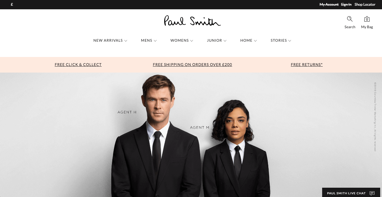 Paul Smith Website. Screenshot.