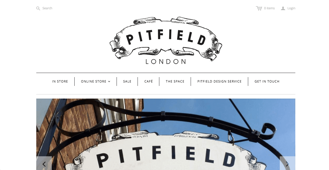 Pitfield London Website. Screenshot.