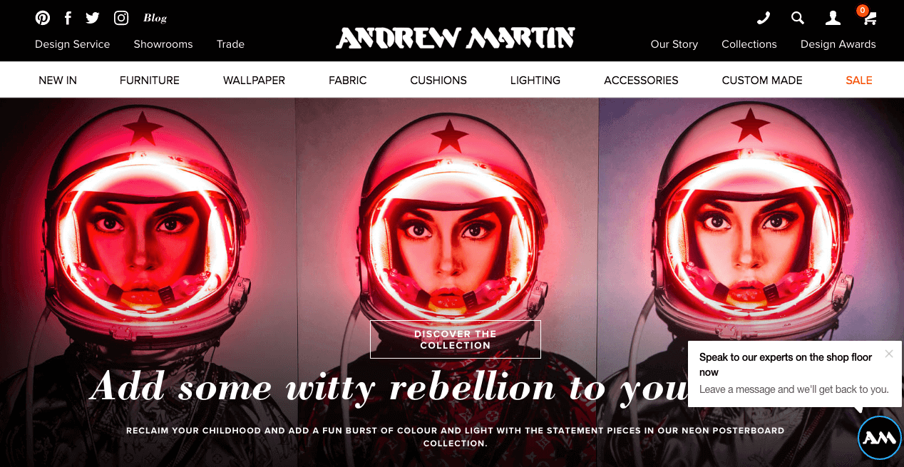 Andrew Martin Website. Screenshot.
