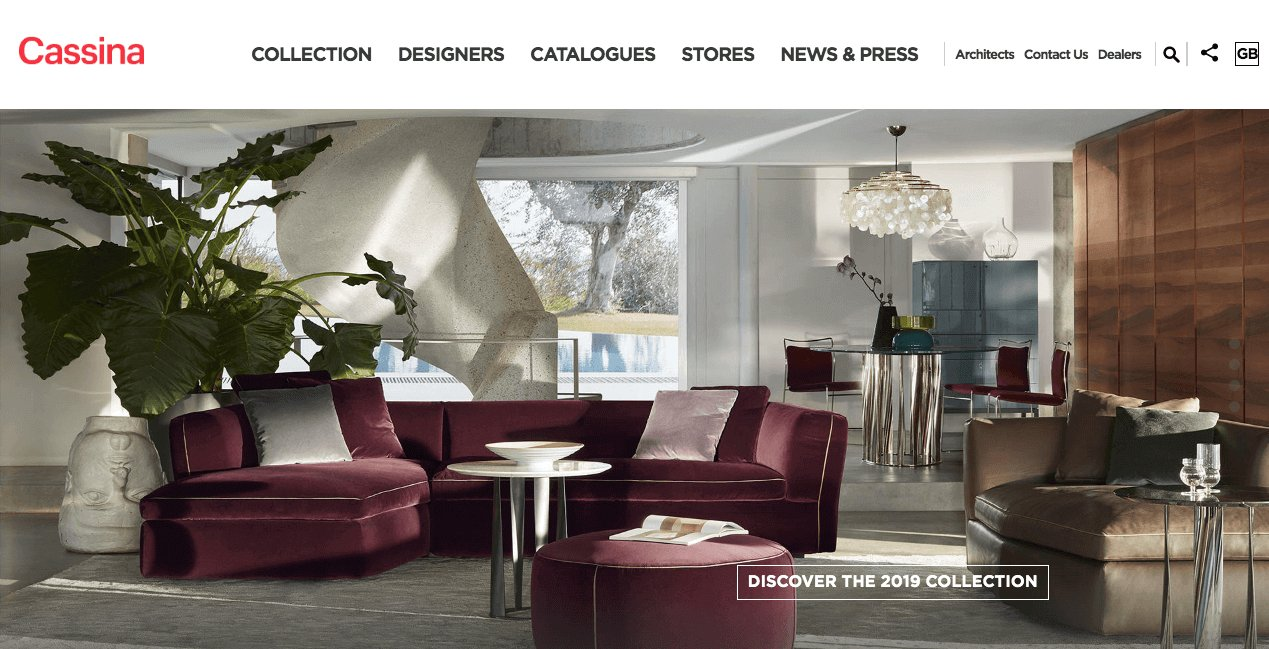 Cassina Website. Screenshot.