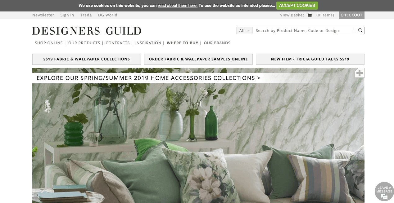 Designers Guild Website. Screenshot.