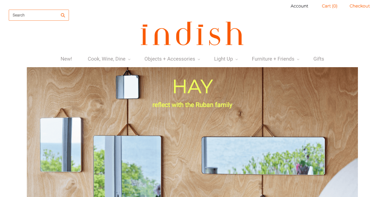Indish Design Shop Website. Screenshot.
