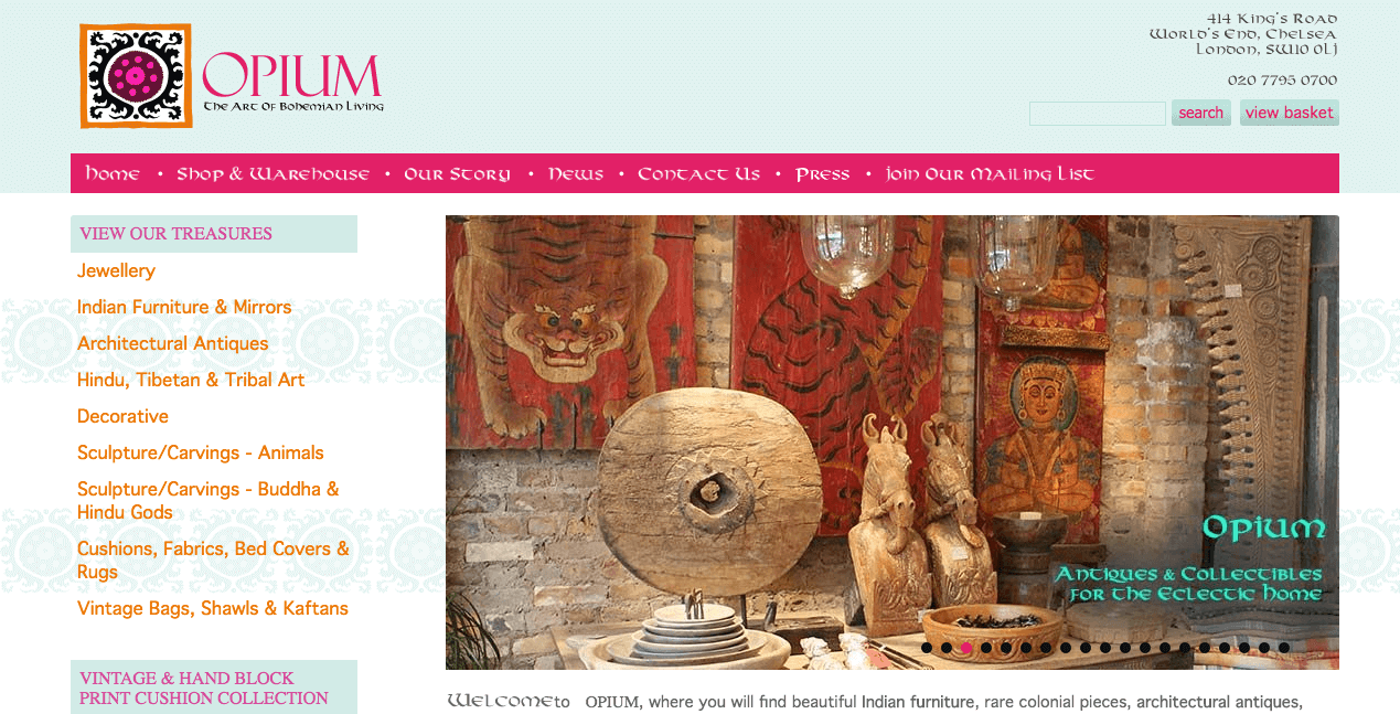 Opium Website. Screenshot.