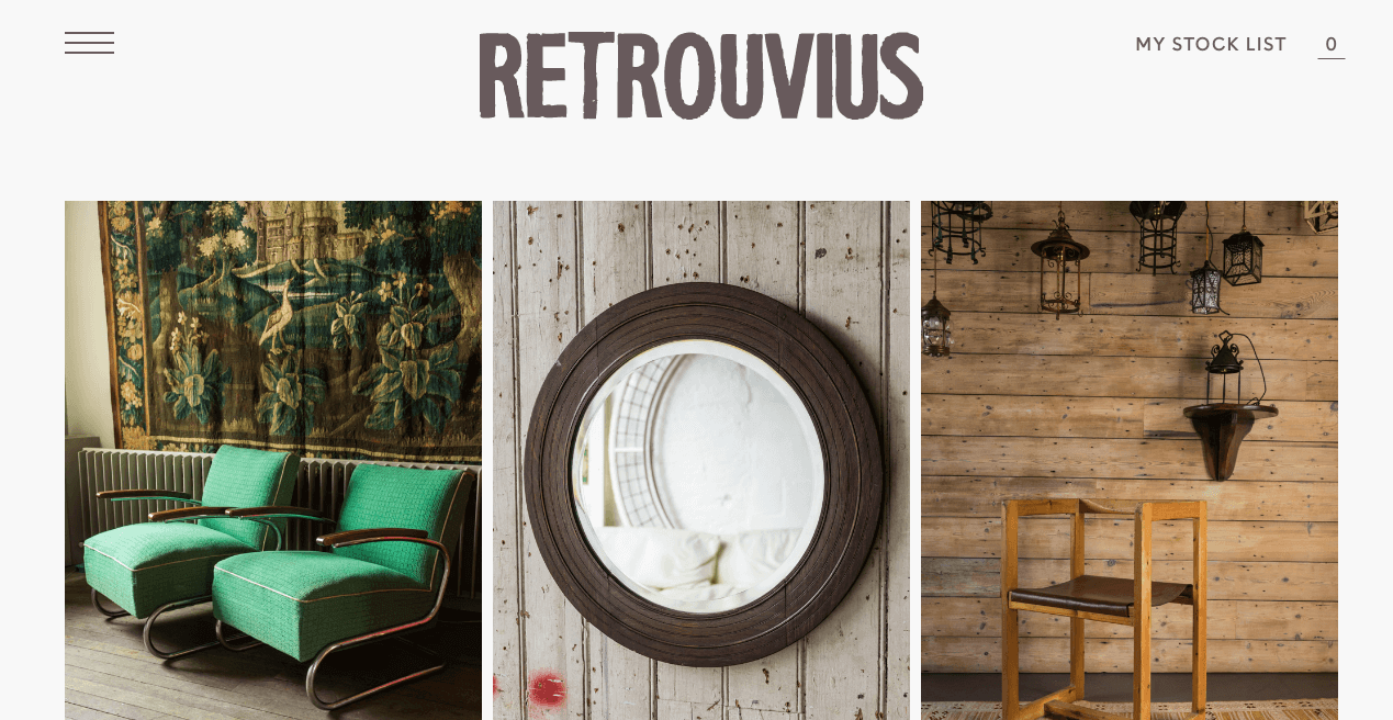 Retrouvius Reclamation & Design Website. Screenshot.