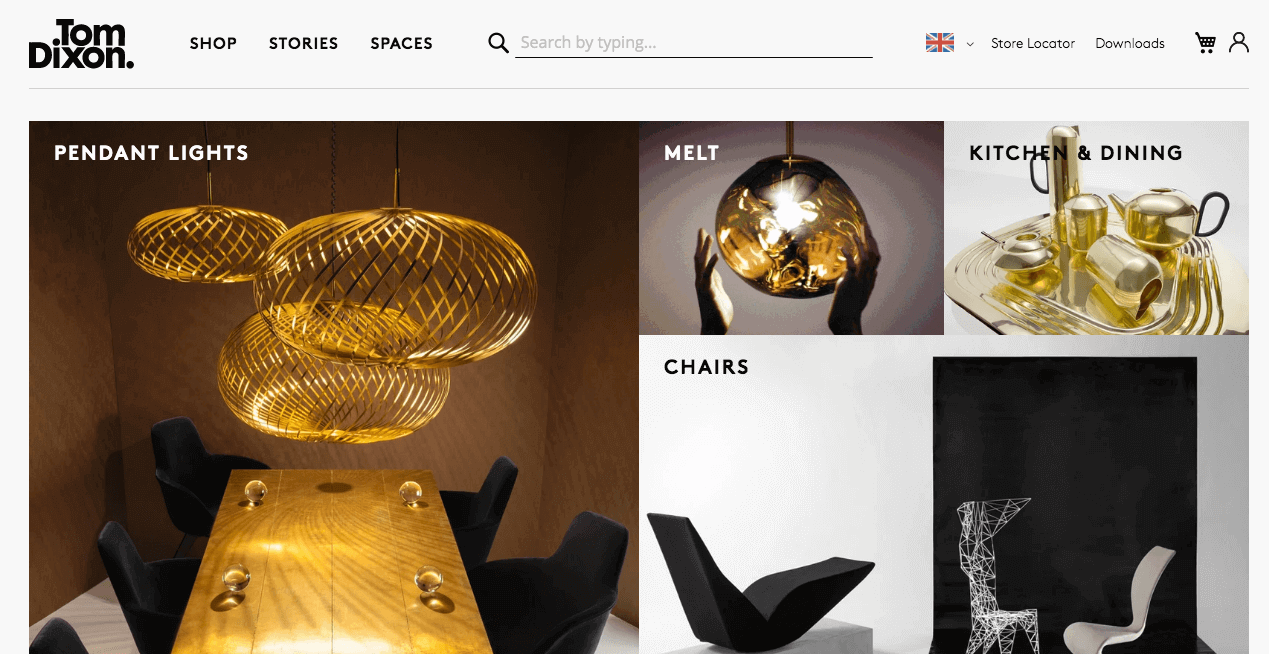Tom Dixon Website. Screenshot.