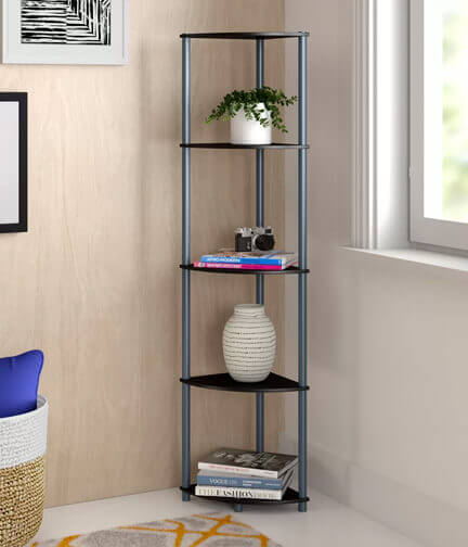 Corner bookcase for bathroom.