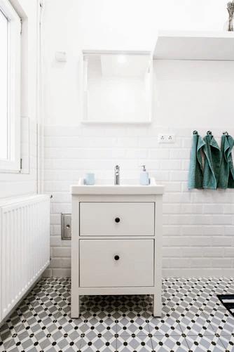 Inside a White Bathroom.