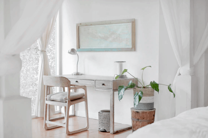 White Desk Inside a Bedroom.