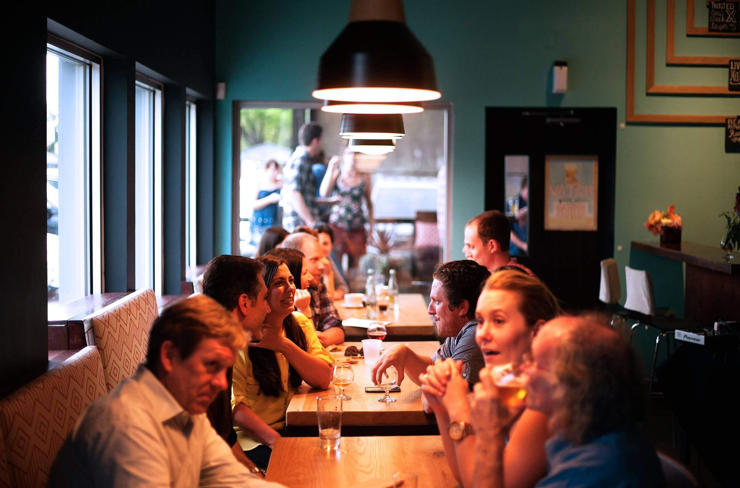 People talking in a restaurant.