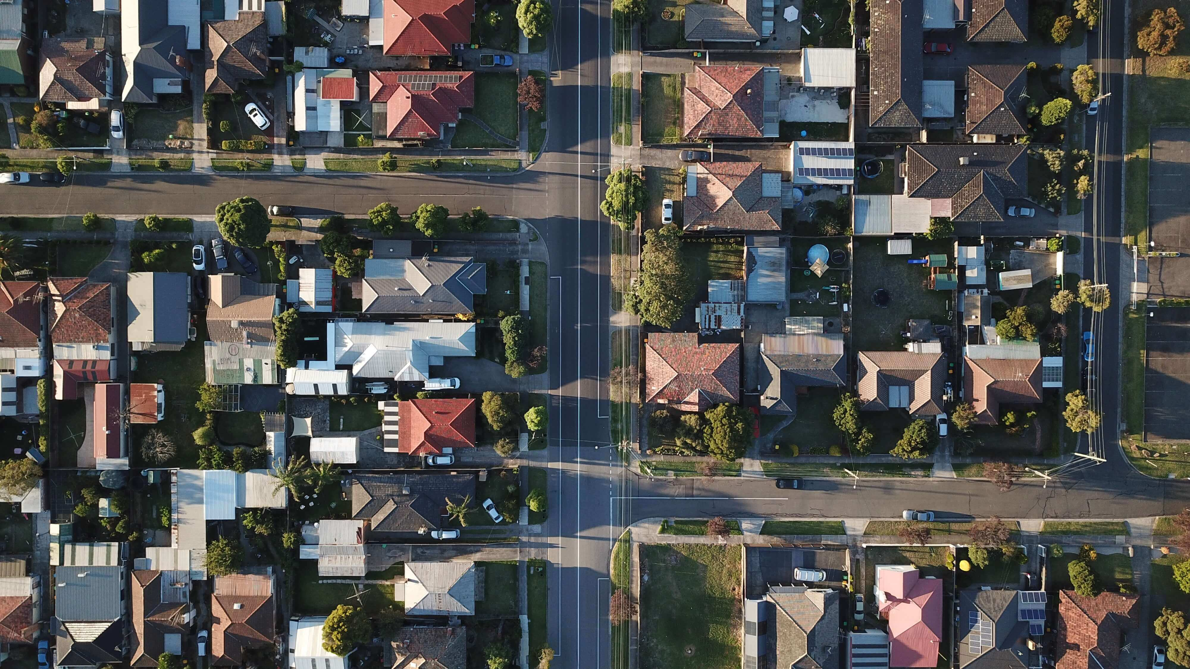 A photo that shows how houses look like from the air.