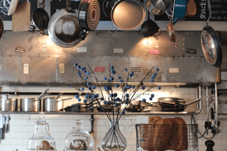 Pans and Pots Above Kitchen.