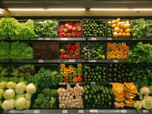 Fruits and vegetables inside a grocery store.