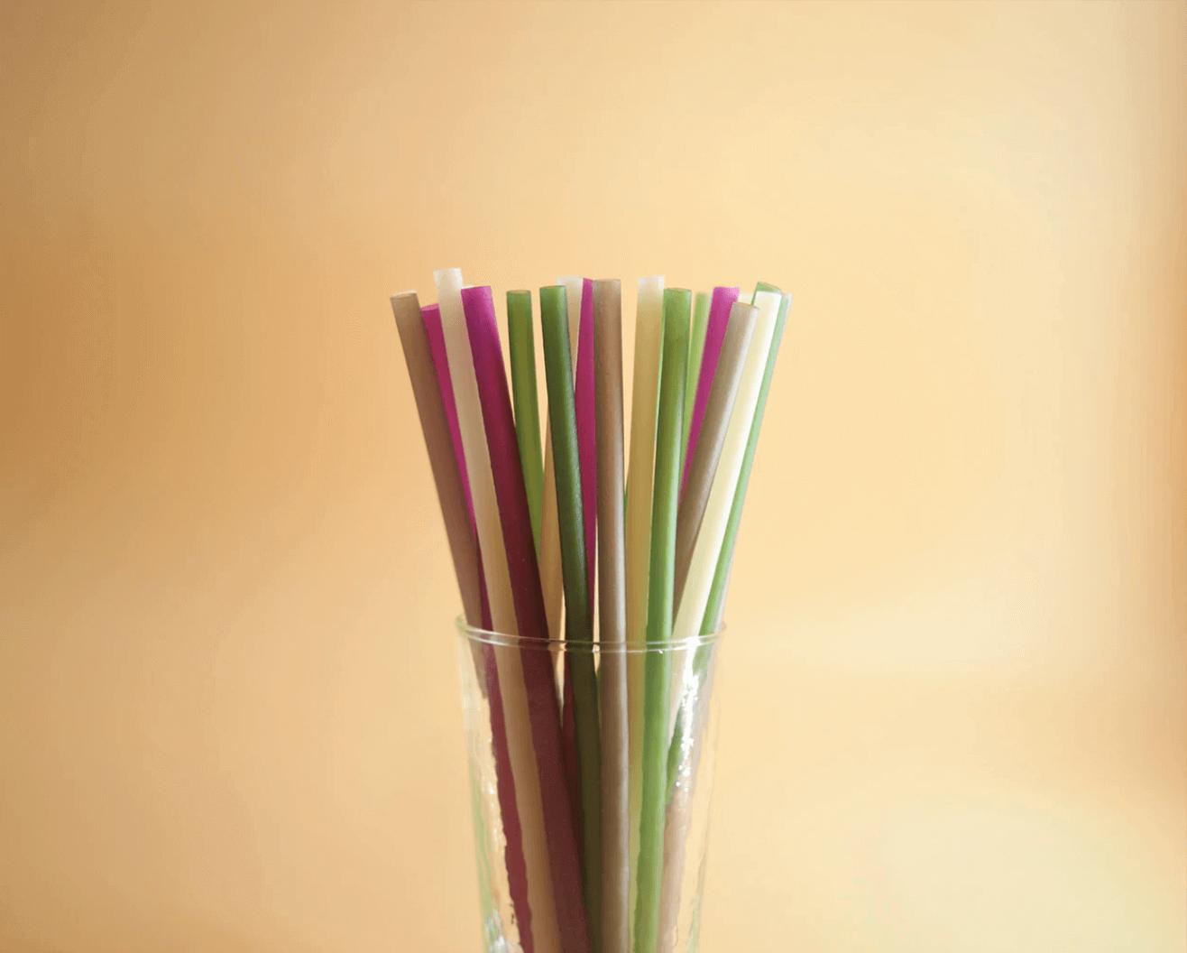 Plastic straws in a jar.