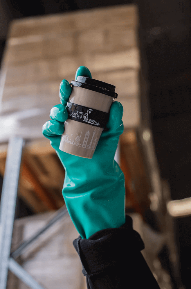 Reusable coffee cup.