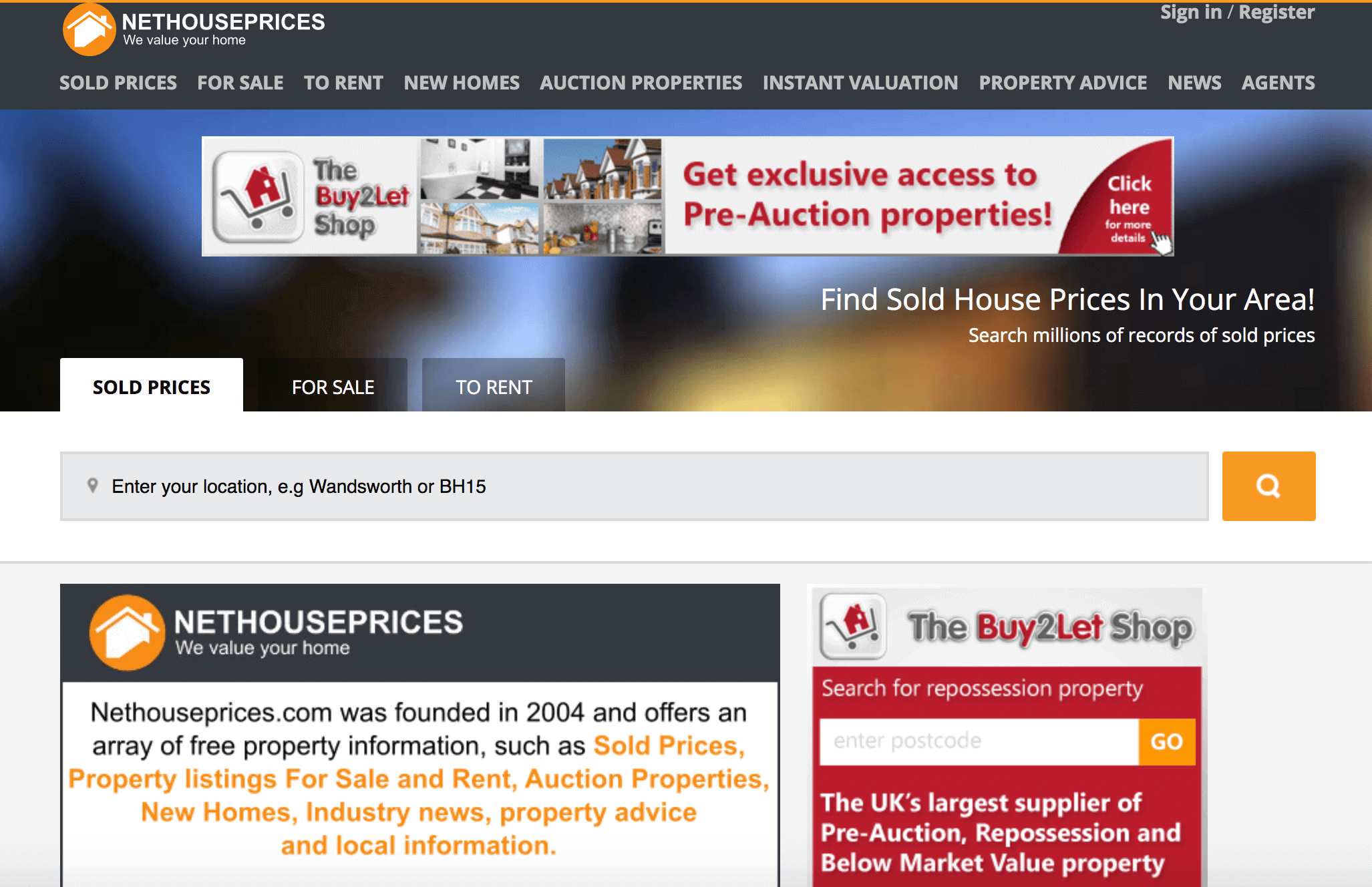 Nethouse Prices homepage.