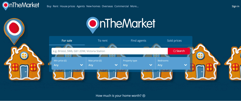 OnTheMarket homepage.
