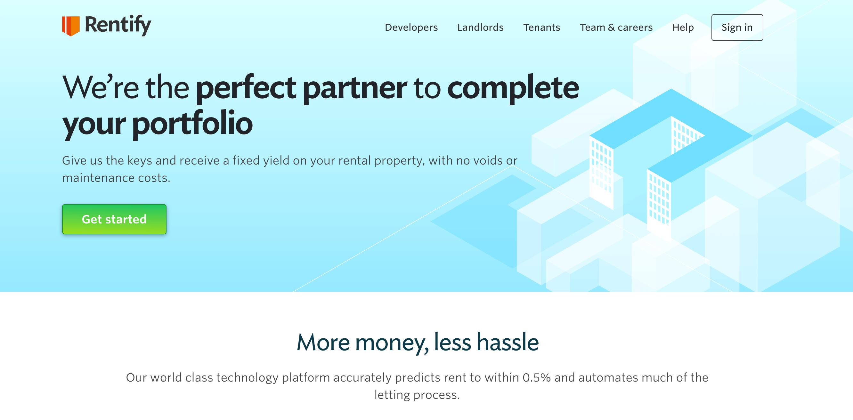 Rentify homepage.