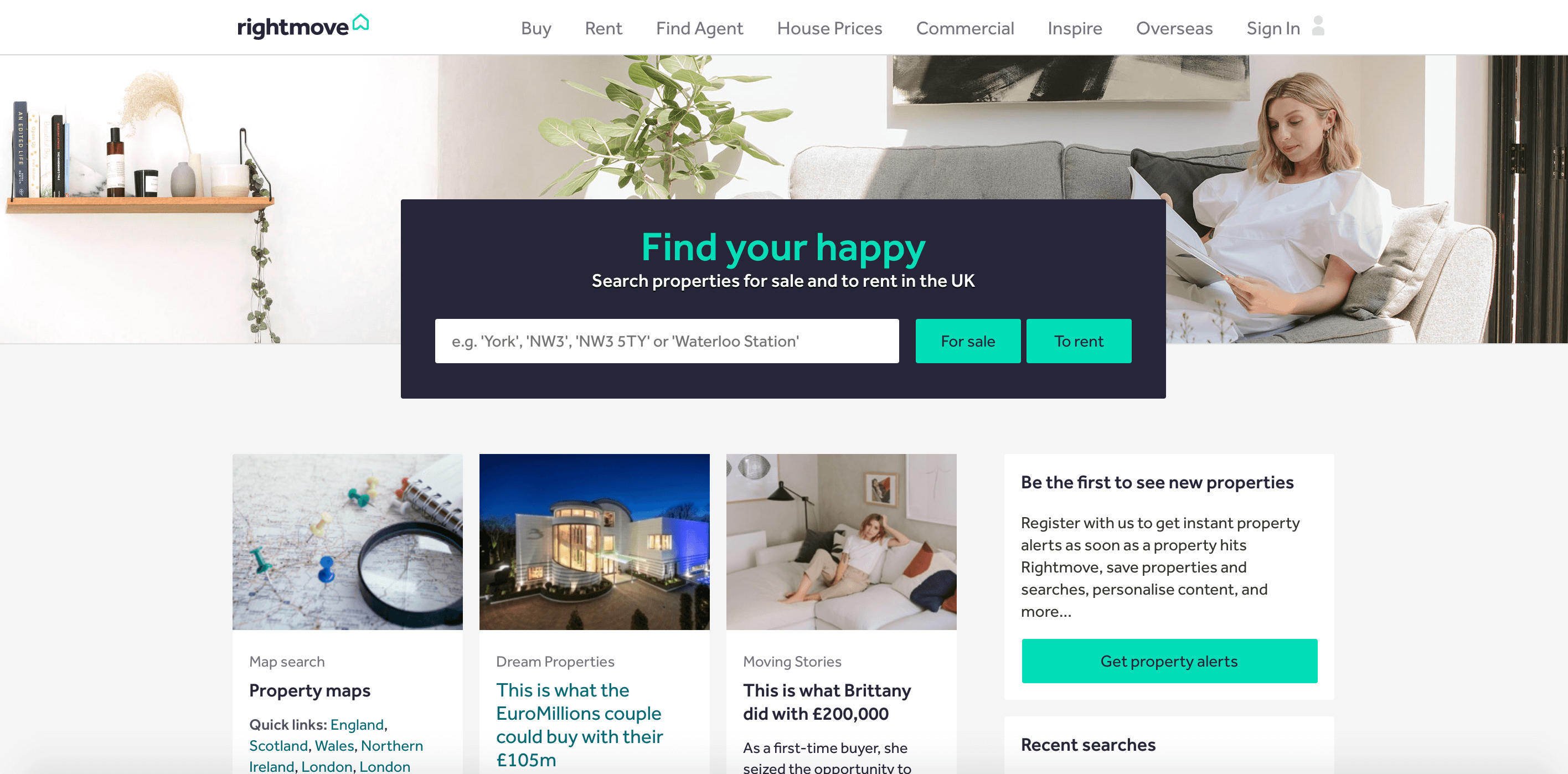 Rightmove homepage.
