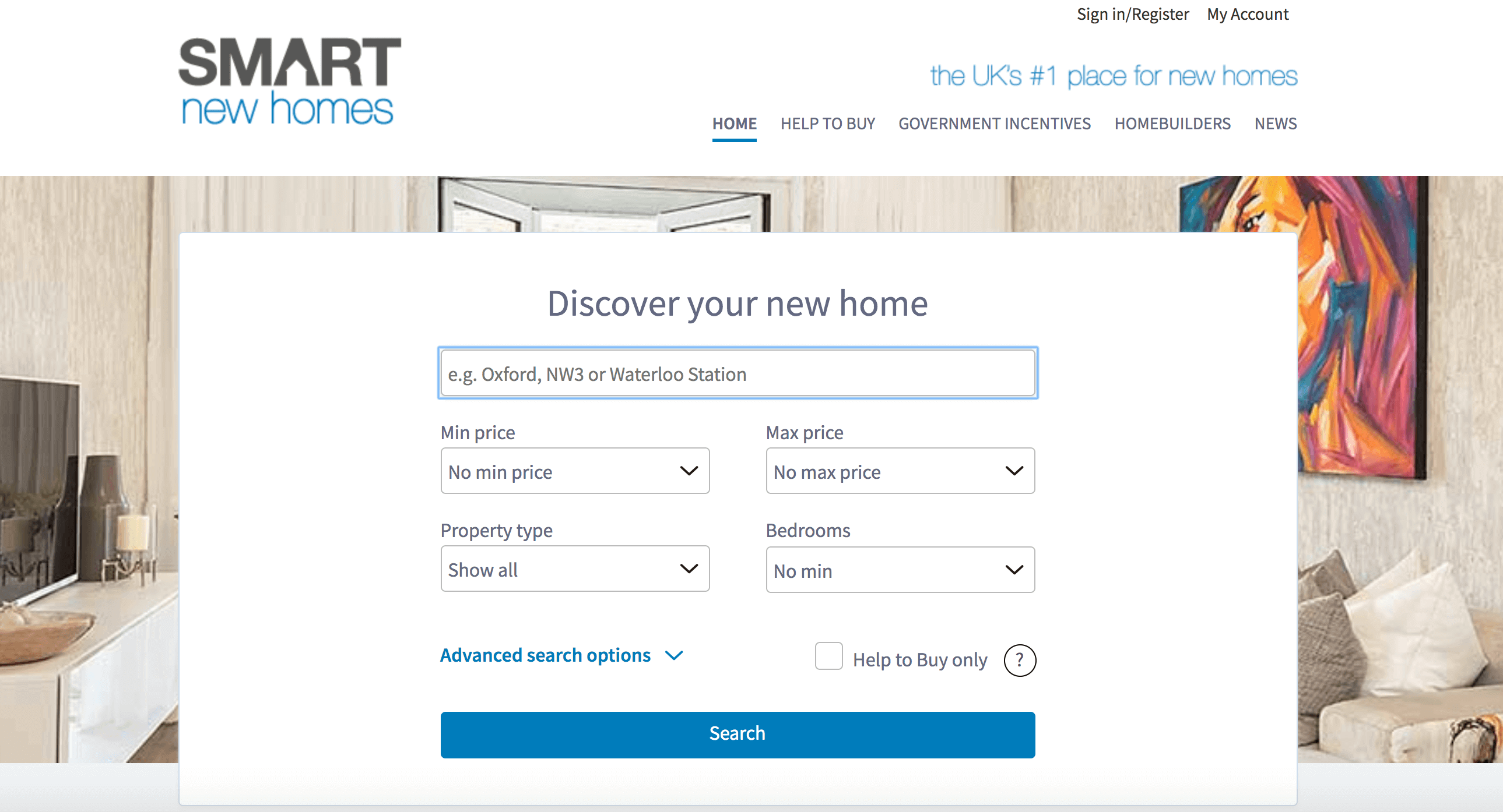 Smart New Homes homepage.