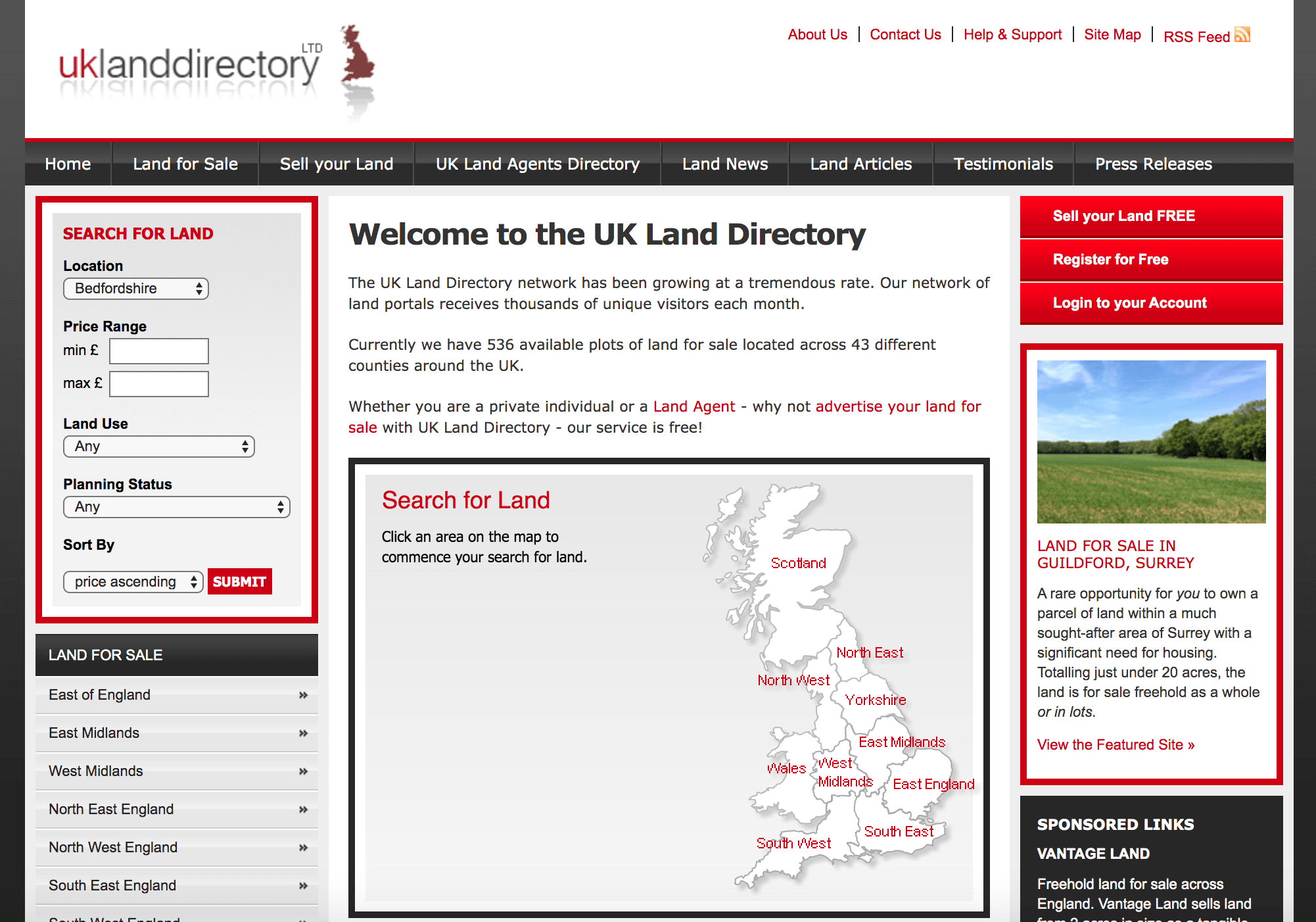UK Land Directory homepage.