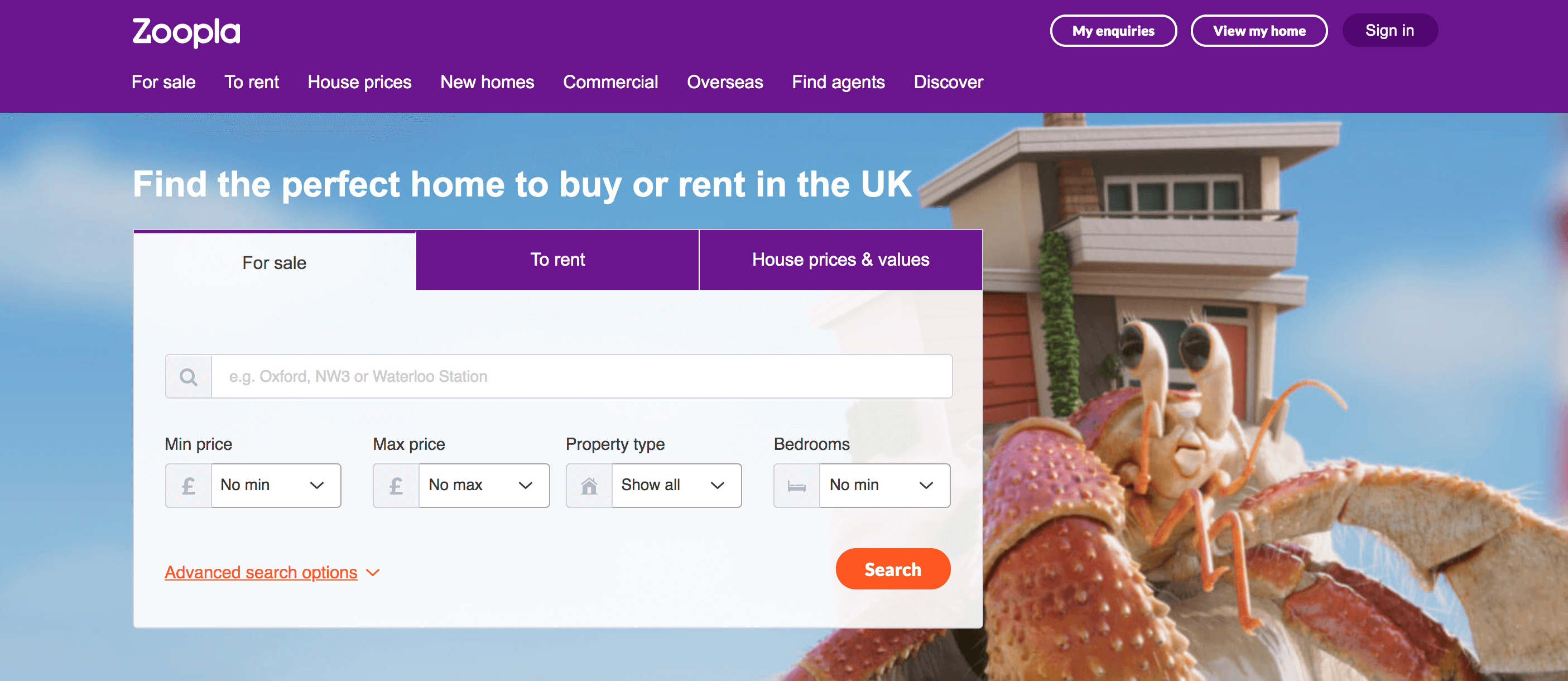 Zoopla homepage.