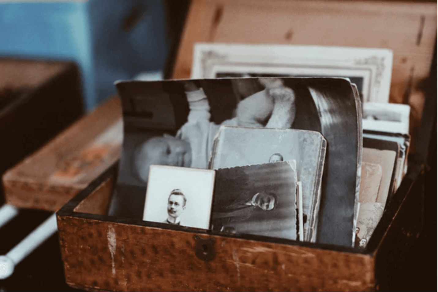 Old photos in a box.