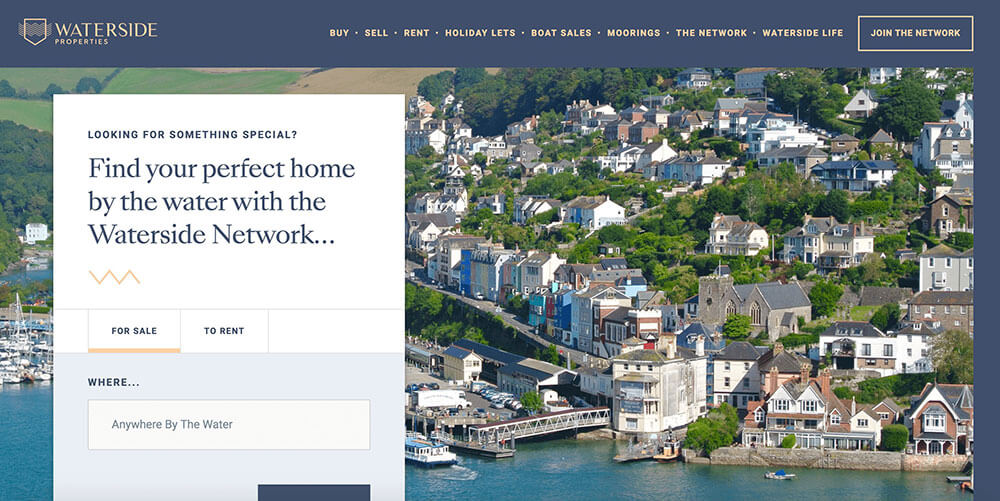 Waterside Properties homepage.